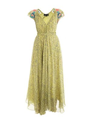 Iris embroidered silk-georgette dress