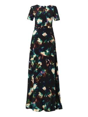 Donna solar cloud-print silk gown