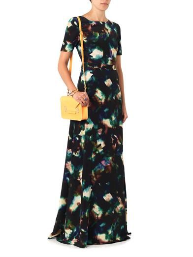 Saloni Donna solar cloud-print silk gown