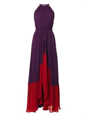 Iris halterneck bi-colour gown