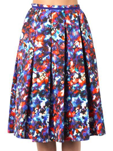 Saloni Bettina cosmic pansy-print midi skirt