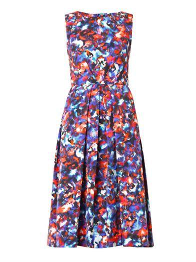 Saloni Lauren cosmic pansy-print dress