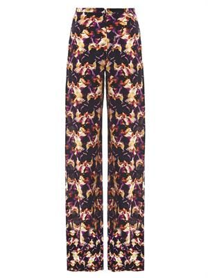 Iris-print wide-leg silk trousers