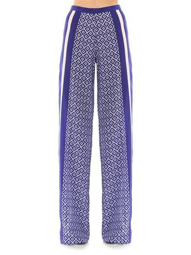 Saloni Sofia wide-leg silk trousers