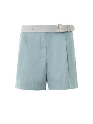 Leather-waistband cotton shorts