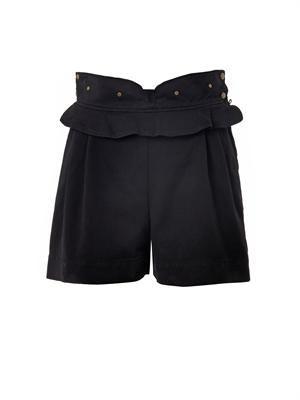 Ruffled denim shorts