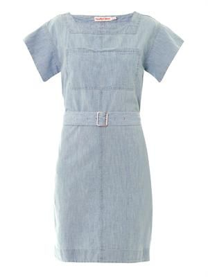Belted chambray cotton dress