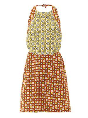 Geometric floral pinafore dress