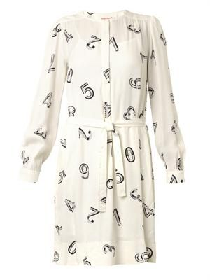 Numbers-print crepe dress