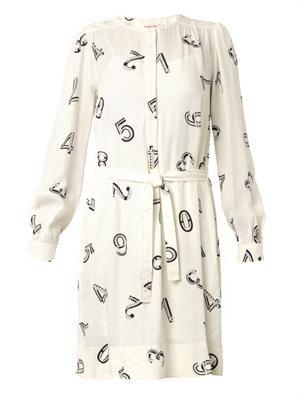 Numbers-print crepe dress