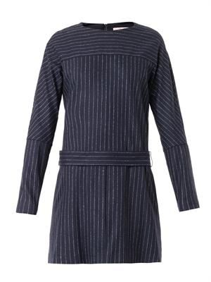 Pinstripe wool-blend dress