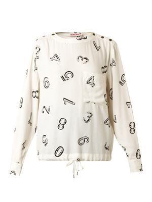Numbers-print crepe blouse