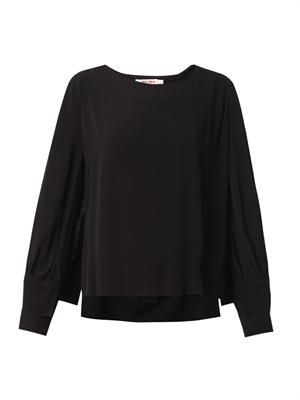 Double-sleeve crepe blouse