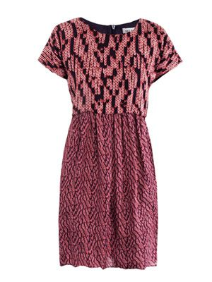 Knit-print silk dress