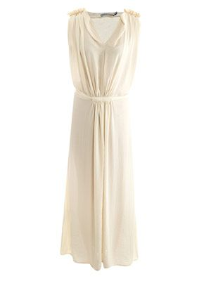 Pleated shoulder maxi dress