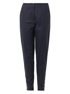 Pinstripe wool-blend trousers
