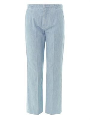 Chambray high-rise tailored trousers