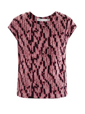 Knit-print silk top