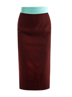 Grosgrain-trim pencil skirt