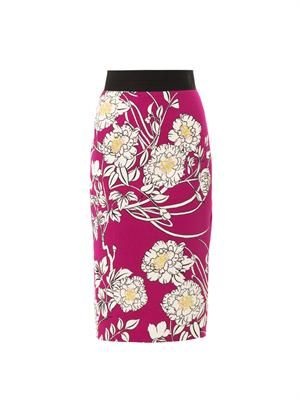 Japanese garden-print pencil skirt