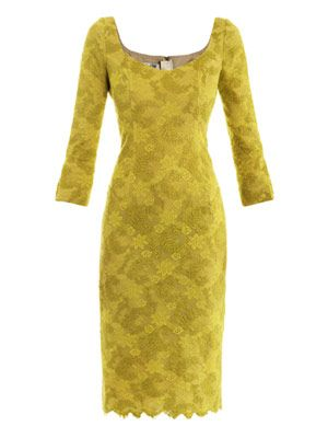 Chartreuse lace dress