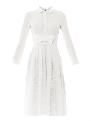 Broderie anglaise bow-front dress