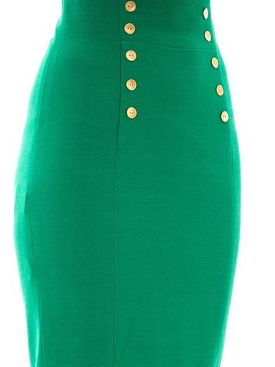 L'Wren Scott Gold button embellished pencil skirt
