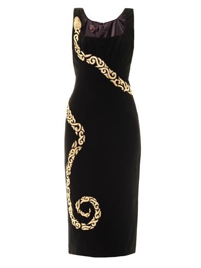 L'Wren Scott Leather snake embroidered crepe dress