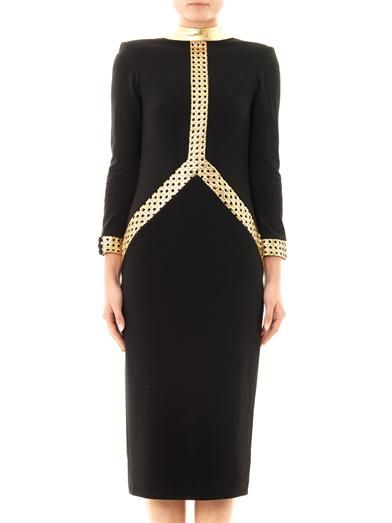 L'Wren Scott Lattice leather crepe dress