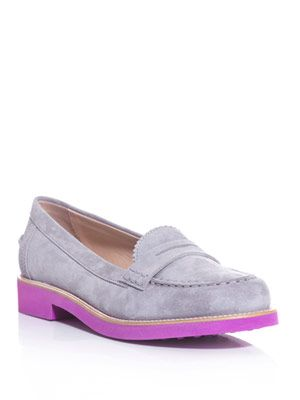 Bi-colour suede loafers