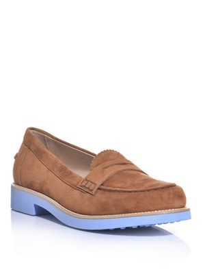 Suede bi-colour loafers