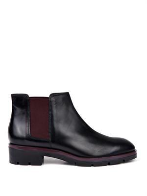 Bi-colour leather chelsea boots