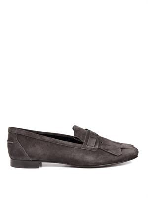 Cuoio fringe-front suede loafers