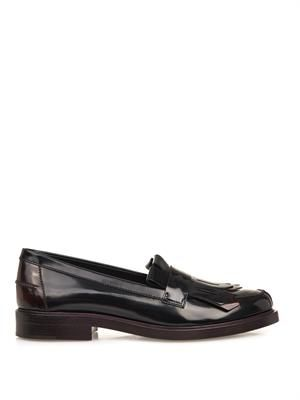 High-shine ombré leather loafers