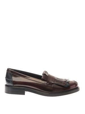 Cuoio bi-colour patent leather loafers