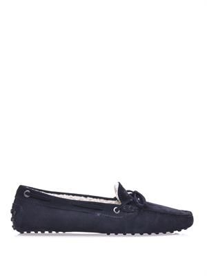 Gommino shearling-lined car shoes
