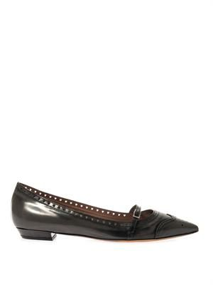 Belfy charcoal-grey leather flats