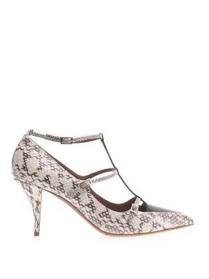 Hai elaphe snakeskin pumps
