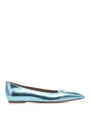 Alexa bi-colour metallic leather flats