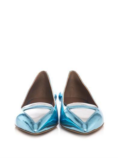 Tabitha Simmons Alexa bi-colour metallic leather flats