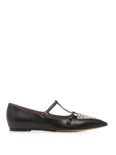 Tabitha Simmons Heart calf-hair and leather flats