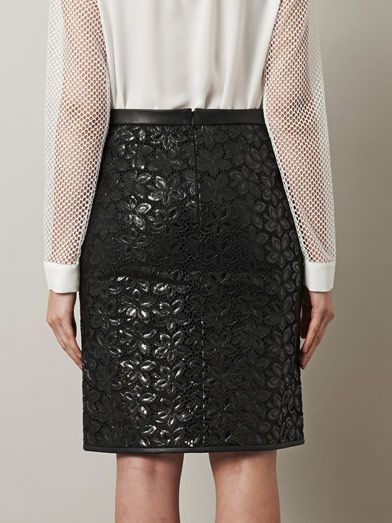 Tibi Waxed eyelet lace pencil skirt