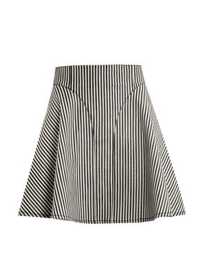 Striped-denim A-line skirt
