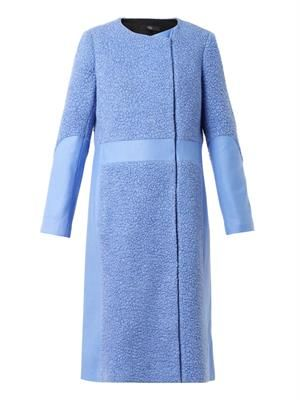 Textured and panelled wool-blend coat