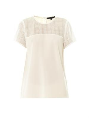 Open-weave plaid panel top