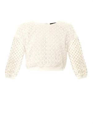 Sonoran eyelet-lace cropped sweatshirt