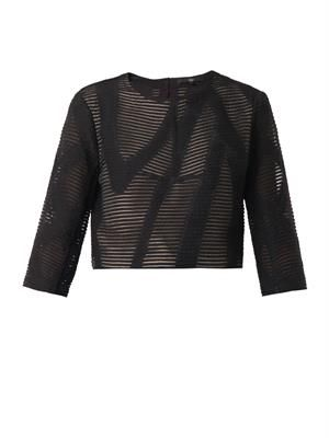 Embroidered wool-blend cropped top