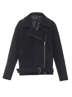 Textured wool-blend biker jacket