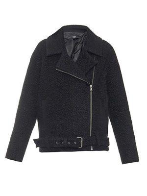 Textured wool-blend biker jacket