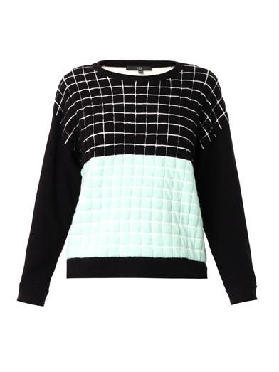 Tibi Grid Blocks knit sweater